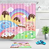 WANGXIAO Cartoon Design Regenbogen Kuchen Zuckerstange Süßigkeiten Duschvorhang Set 12 Haken für Duschvorhang wasserdichtes Badezimmerdekor