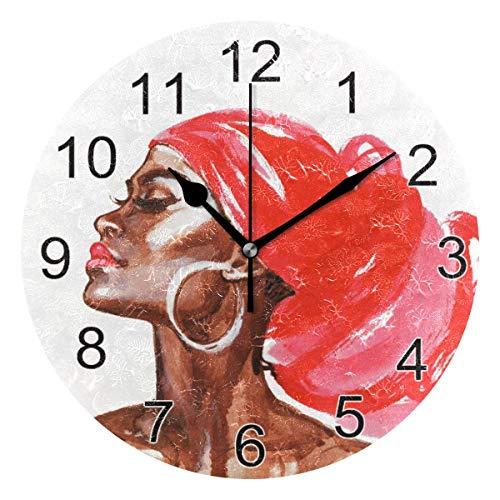 Gokruati Reloj de Pared silencioso,Reloj de Cocina,Relojes de Cuarzo silencioso Que no Hace tictac,para Sala de Estar,dormitorios,(Diámetro: 25 cm),Pañuelo Rojo de Pared de Mujer Negra Africana