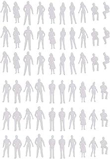 koolsoo 60x Plastic 1:50 Simulation Mini Unpainted People Kit White Toy Photo Props