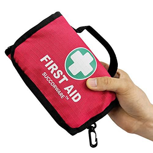 SuccorWare Small First Aid Kit - 100 Piece - Mini First Aid Kit for Home, Camping, Hiking, Backpacking, Travel, Vehicle, Outdoors - Emergency & Medical Supplies