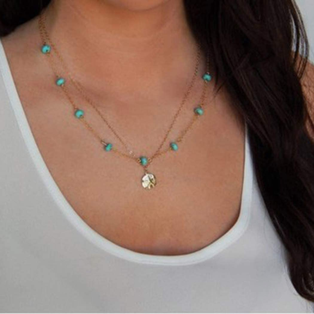 Selling and selling Dreamyn Detroit Mall Boho Turquoise Necklaces Layer Pendant Sequins