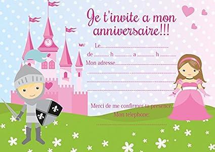 10 Cartes Invitation Anniversaire Chevaliers Princesse Amazon Fr Fournitures De Bureau