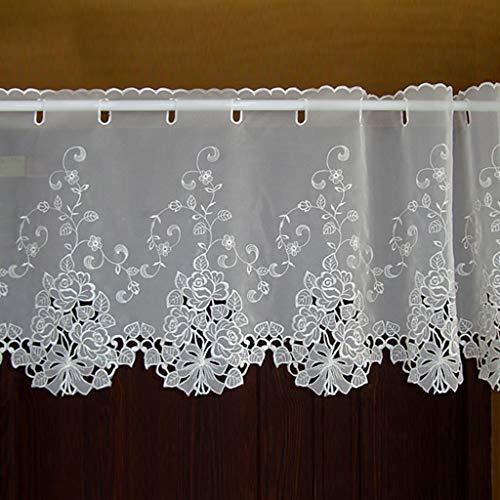 Yujiao Mao 1er Pack Halbtransparent Besticke Weiß Blumen Scheibengardine Küchen Vorhang Tür Gardine J13 HxB 30cmx150cm