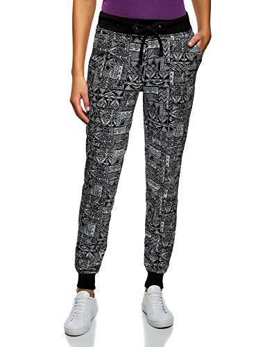 oodji Ultra Mujer Pantalones de Punto con Cordones, Negro, ES 42 / L