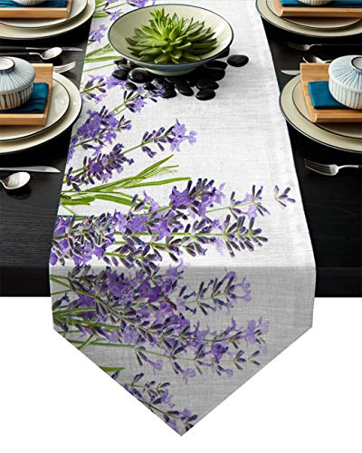 Libaoge Coffee Table Runner Purple Lavender Burlap Table Runner for Weddings, Home Décor & Crafts 13 x 70(33 x 178cm)