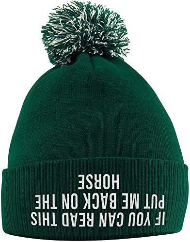 EDK Bobble Beanie Hat - Gorro de Invierno con Eslogan de Caballo Bordado en la Parte Delantera, Verde Botella, Talla única
