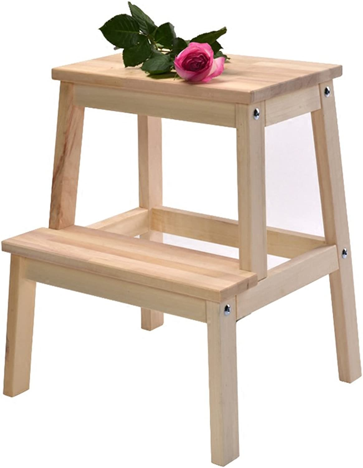 PENGFEI Ladder Step Stool Stairs Multifunction Solid Wood 2 Steps Home Kitchen Change shoes Step On Foot High and Low 43x39x50CM Furniture (color   Wood color)