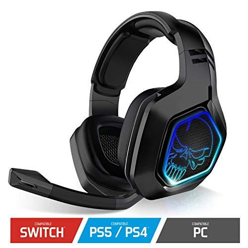 SPIRIT OF GAMER - XPERT-H900 - Auriculares Inalámbricos Pro Black Full Gamer - Bajos Potentes - LED Azules - Cuero De Imitación - Micrófono Flexible - Autonomía 12H - PC / PS4 / SWITCH Multiplataforma