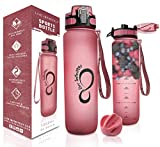 Live Infinitely - Botella de Agua sin BPA con Marcador de Tiempo, Pantalla infusora de Frutas y balón Mezclador, Tapa Superior con Bloqueo y Revestimiento de Goma Duradero, 34 Ounce, Burgundy