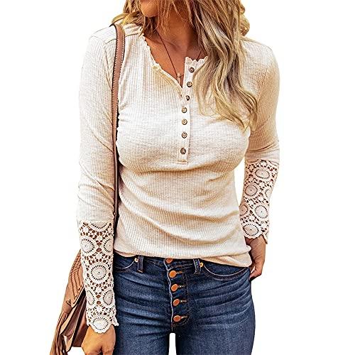 Mayntop - Maglietta da donna per l'estate, per l'autunno, tinta unita, a costine, a maniche corte, senza maniche, con scollo a V, Colore: beige, 40
