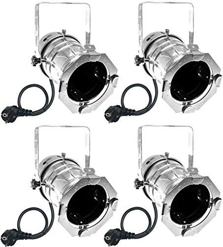 Varytec 1248 - 4 x PAR 30 Spot-Light Scheinwerfer SILBER polish PAR-30 mit E-27 Fassung & Kabel mit Schuko-Stecker