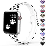 Sunnywoo Sport Band Compatible with Apple Watch 38mm 40mm 42mm 44mm, Narrow Soft Fadeless Floral Silicone Slim...