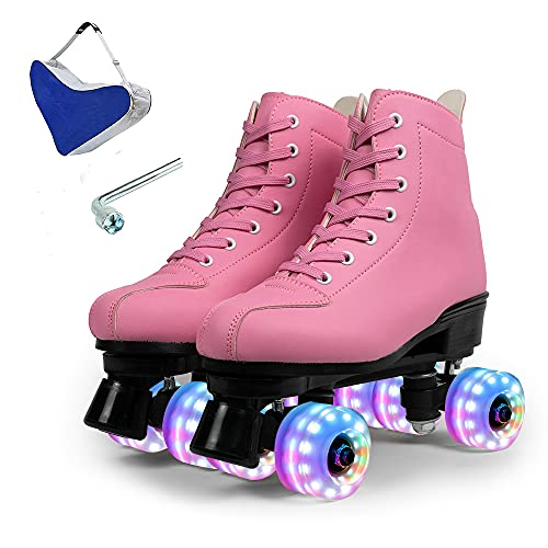 ZZAINIO Roller Skates for Women Men PU Leather Double-Row Roller Skates for Beginner Professional Indoor Outdoor Shiny Roller Skates with Shoes Bag (Pink Flashing Wheel,US: 6)
