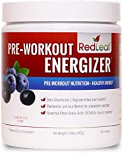 Red Leaf Pre-Workout Energizer Powder, Pre Workout for Women and Men, BCAA's, Beta-Alanine, Amino Acids, Green Tea - 30 Servings (Blueberry Acai)