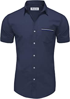 TAM WARE Mens Casual Chest Pocket Short Sleeve Winkle Free Button Down Shirts