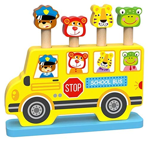 Woody Treasures Montessori Wooden Toys 18 Month Old - Baby Pop Up Toy with Animal Theme - Colorful School Bus with Characters - Educational and Fun - Montessori Toys