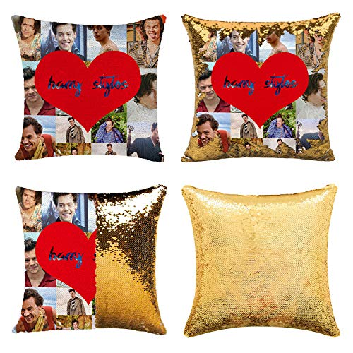 K T One Funny Sequin Pillow Case Photo Memory Pillow Cover Reversible Home Decorative Throw Pillow Covers Glitter Pillow 16x16 Inches