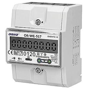 ORNO WE-517 Multitarifa Medidor De Consumo Electrico Bidireccional DIN Carril Para Sistemas Trifásicos Con Certificado MID y RS485, 0.25A - 80A.3 x 230V/400V, 50/60Hz, 1000 imp/kWh