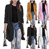 Womens Blazers Casual,Suit Jacket Lightweight Slim tan Blazer Long Lapel Cardigan Long Slim Overcoat with Pocket 80s Jacket