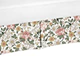 Sweet Jojo Designs Vintage Floral Boho Girl Pleated Baby Nursery Crib Bed Skirt Dust Ruffle - Blush Pink, Yellow, Green and White Shabby Chic Rose Flower Farmhouse