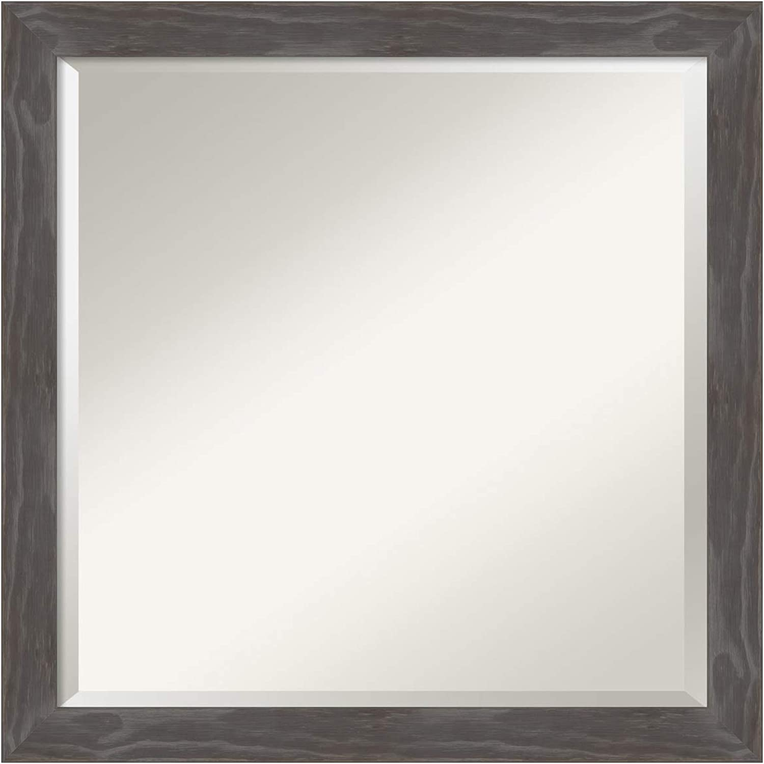 Bathroom Mirror Square, Fits Standard 24 in. Cabinet, Woodridge Rustic Grey  Outer Size 23 x 23