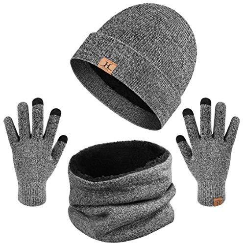 heekpek Bufanda Gorro Guantes para Hombre Invierno Regalos para Hombre Mujer Unisexo Set de Bufanda Conjunto de Guantes de Punto BufaSombrero de Invierno Gorras Con Bufanda (Gris oscuro)