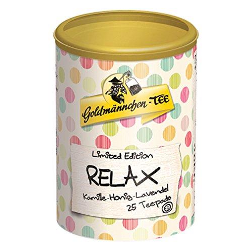 Goldmännchen Tee PUROMA Relax / Kamille Honig Lavendel, Kamillentee, Teebeutel, Tee Pads, 25 Puroma-Beutel, 9223