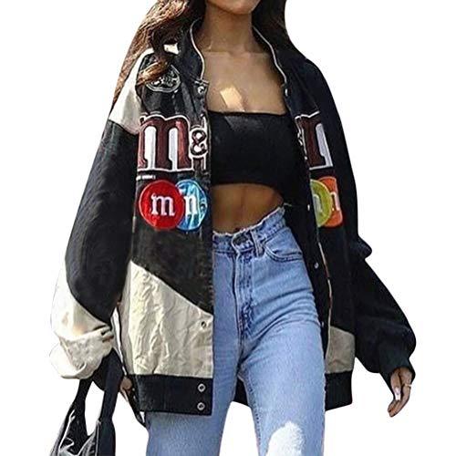 Onsoyours Bomberjacke Damen Sweatjacke Ladies College Sweat Jacket Reißverschluss Für Frauen Oversized Patchwork Jacke Vintage Druck Jacken Baseball Mantel C Schwarz S