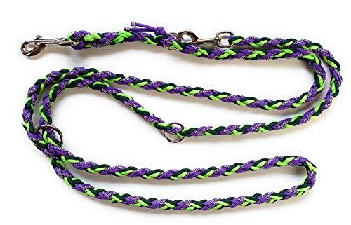 Viva Nature Handgeflochtene Paracord Hundeleine/verstellbare Führleine/Flechtleine/Funktionsleine Doppelleine ca.2m 3 Ringe/Hunde/Leine / (grün lila)
