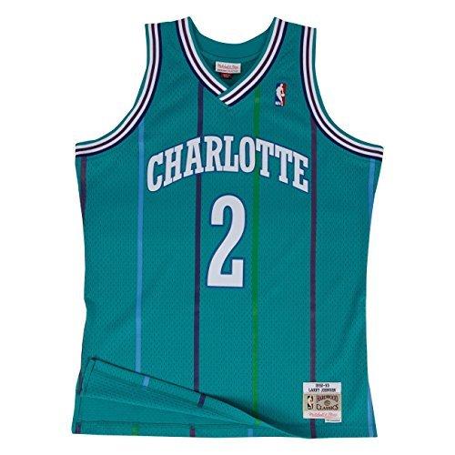 Mitchell & Ness NBA Charlotte Hornets Larry Johnson 1992-93 Retro Jersey Swingman Oficial Away Hardwood Classics, Camiseta de Hombre