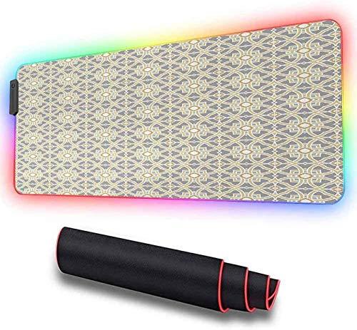 Grand tapis de souris de jeu RVB, Azulejos floraux marocains Arabesque, tapis de souris LED étendu avec base en caoutchouc antidérapante, tapis de souris 600x350x30mm
