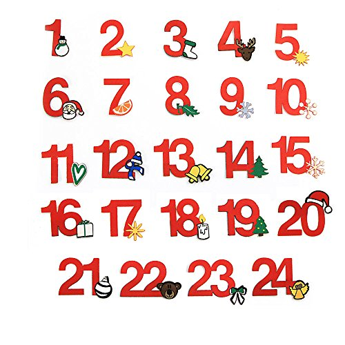 24 Adventskalender Zahlen zum Aufbügeln, Adventszahlen aus Stoff, Set