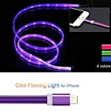 3ft Visible Flowing LED USB Cable Sync Data Fast Charger Cord for iPhone 11/ iPhone Xs MAX/XR/ /8/8 Plus/7/7 Plus/6/6 Plus, iPod and iPad and More-with Cell Phone Finger Ring StandPurple