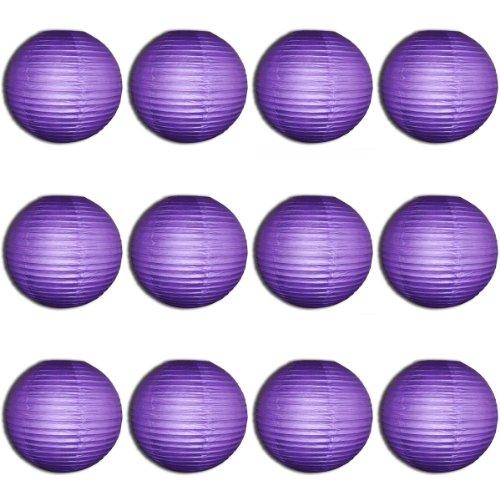 30,5 x 20,3 cm Violet Lanterne en papier ronde avec nervures en fil – Value Pack