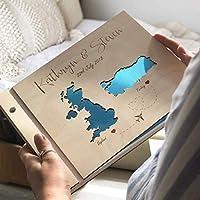 Guestbook matrimonio, Mape, libro delle firme e dediche del matrimonio, con copertina legno, personalizzato, nomi degli...
