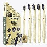 Aurumg Paquete de 8 + 2 + 1 Cepillo Dientes Bambú ergonómico + Portacepillos + Hilo dental...