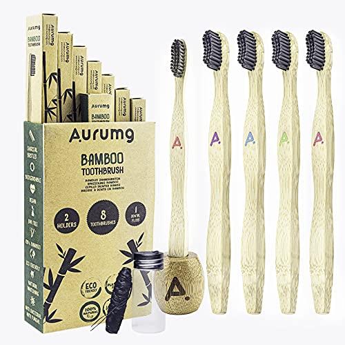 Aurumg Paquete de 8 + 2 + 1 Cepillo Dientes Bambú ergonómico + Portacepillos + Hilo dental Cepillos con cerdas de carbón de bambú para una mejor limpieza, Embalaje Reciclable, 100% libre de BPA