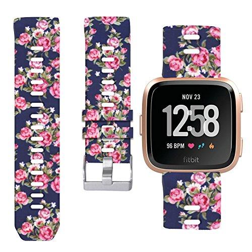 Allbingo Fitbit Versa Cute Bands,Women Men Replacement Strap Wristband for Fitbit Versa Smart Watch (Romantic Flowers, Small)