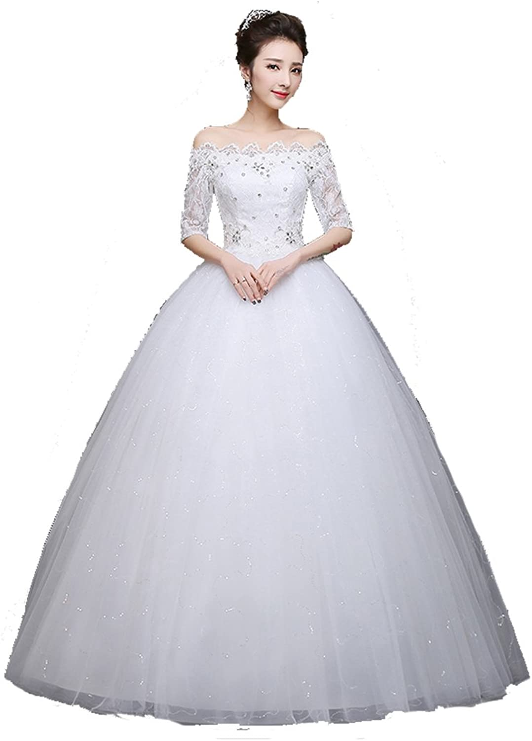 JSL Long Shoulder Slim Thin Wedding Dress