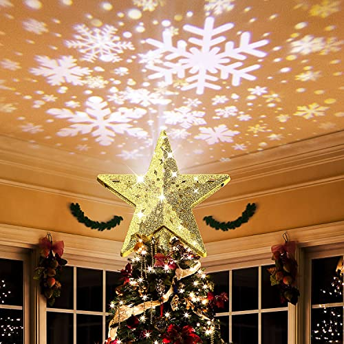 Koicaxy Christmas Tree Topper, Star Tree Topper with Lighted Rotating LED Snowflake Projector Light, 3D Glitter Hollow Night Light Topper for Christmas Tree Decoration