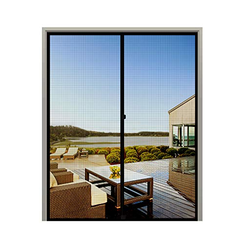 "MAGZO French Screen Door 72 x 80, Durable Fiberglass Mesh with Heavy Duty Full Frame Hook&Loop Fits Door Size up to 72""x80"" Max-Black"