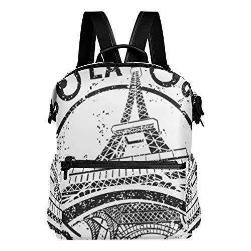 KIMDFACE Rucksack,Paris Briefmarke verziert,Laptoptaschen Casual Print Umhängetasche Student Daypack Reisen Wandern Camping Packs(29 * 16 * 38 cm)