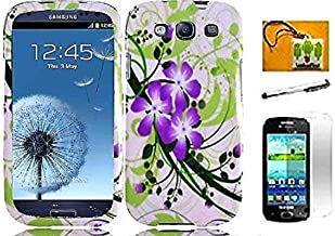 LF Designer Hard Case Cover, Lf Stylus Pen, Screen Protector & Wiper Bundle Accessory for T-Mobil Samsung Galaxy S Relay 4G T699 (Violet Lilly)