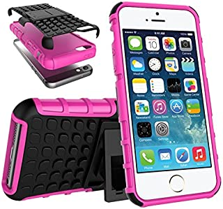 Meipa Time Dual Layer Armor Shock Absorbing Protective Drop Protection Durable Case with [Kickstand] for iPhone SE 5S 5 (Color : Pink, Size : iPhone SE 5S)