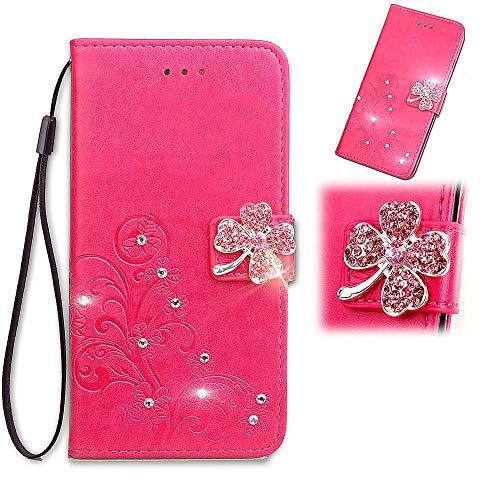 Luckyandery - Funda tipo cartera para Samsung Galaxy S20, piel sintética, función atril, ranuras para tarjetas, billetera para Samsung Galaxy S20, color rojo rosa