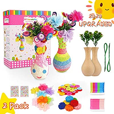 Bukm Flower Craft Kit for Kids, Kids Arts and Crafts, Make Your Own Flower Vase Art Toy, Crafts for Girls & Boys Ages 4-8, DIY Activity Gift Crafts for Kids Age 4 5 6 7 8 9 -12 Years Old Boys Girls