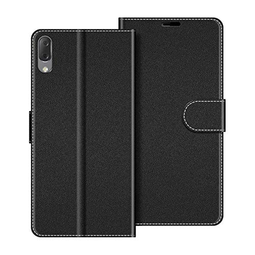 COODIO Handyhülle für Sony Xperia L3 Handy Hülle, Sony Xperia L3 Hülle Leder Handytasche für Sony Xperia L3 Klapphülle Tasche, Schwarz