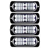 Teguangmei 12-24V 20-LED Super Bright Emergency Strobe Warning Caution Hazard Construction Waterproof Flashing Strobe LED Light Bar Surface Mount for Car Truck SUV Van (White)