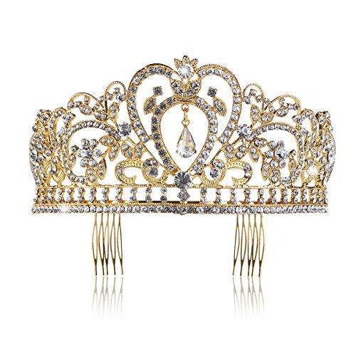 Pixnor Hochzeit Braut Kronen-Stirnband Tiara Strass Kopfstück Gold