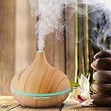 Humidificador ambiental y difusor de aromas 300ml para aceite esencial con luz LED de colores y temporizador programable diseño feng shui relaja y crea un ambiente fresco – color Chocolate